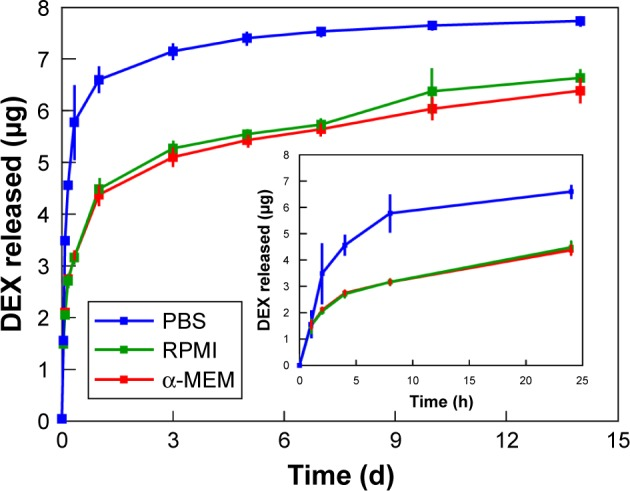 In vitro release of DEX from DEX-oxSWNHs/TBP–NHBP on Ti. Time course of cumulative release of [ 3 H]-DEX from DEX-oxSWNHs/TBP–NHBP on Ti plates in PBS (blue line), RPMI medium/5% FBS (green line), and α-MEM/5% FBS (red line) at 37°C over 14 days. The inset shows cumulative release of DEX from DEX-oxSWNHs/TBP–NHBP on Ti plates in PBS (blue line), RPMI medium/5% FBS (green line), and α-MEM/5% FBS (red line) at 37°C for 24 hours. Error bars indicate standard deviation ( n =3). Abbreviations: DEX, dexamethasone; PBS, phosphate-buffered saline; RPMI, Roswell Park Memorial Institute; α-MEM, α-minimal essential medium; oxSWNHs, oxidized single-walled carbon nanohorns; TBP, Ti-binding peptide; NHBP-1, SWNH-binding peptide.