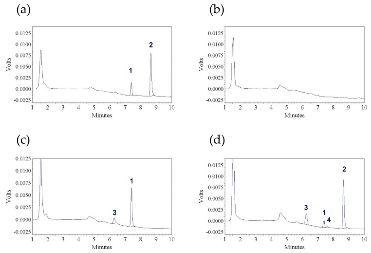 Representative chromatograms (UV absorbance, λ = 312 nm) of: ( a ) a blank plasma sample spiked with tangeretin (300 ng/mL) and trans -stilbene (internal standard) (900 ng/mL); ( b ) a pre-dosing plasma sample; ( c ) a post-dosing plasma sample collected from a Sprague—Dawley rat at 30 min after receiving an intravenous dose of tangeretin (10 mg/kg) (without internal standard); and ( d ) a post-dosing plasma sample collected from a Sprague—Dawley rat at 30 min after receiving an oral solution of tangeretin (50 mg/kg) (with internal standard). Peak 1: tangeretin, peak 2: trans -stilbene (internal standard), peaks 3 and 4: unidentified metabolites.
