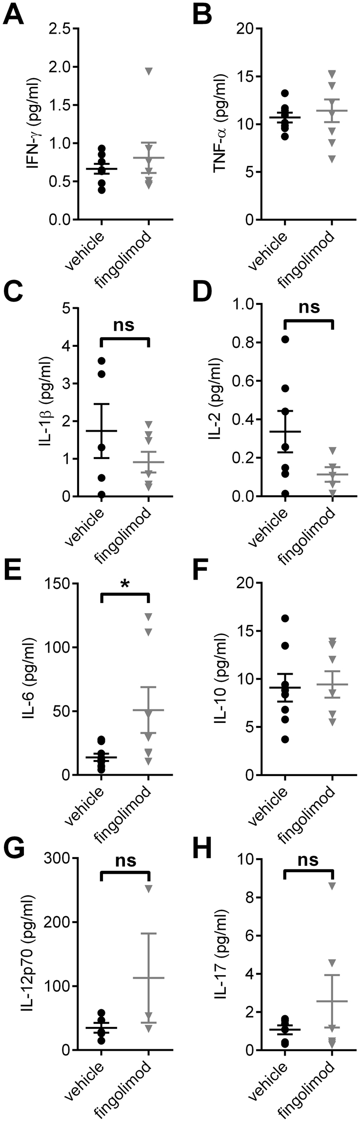 Influence of fingolimod on serum cytokine expression. Serum samples were taken after an eight-week treatment period with fingolimod or vehicle. No differences in cytokine levels were observed for ( A ) Interferon-γ (IFN-γ), ( B ) Tumor necrosis factor-α (TNF-α), ( C ) Interleukin (IL)-1b (IL-1b), ( D ) IL-2. ( E ) Fingolimod treated mice showed elevated levels of IL-6 compared to vehicle treated control animals, while ( F ) IL-10, ( G ) IL-12p70 and ( H ) IL-17 were not different between treatment groups. Statistical analysis: ( A , C , D , E , G , H ) Mann-Whitney-U test, ( B , F ) unpaired t-test, group sizes: n = 5–9 (vehicle), n = 3–8 (fingolimod). *p ≤ 0.05, ns: not significant.