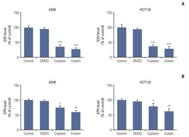Cisplatin led to intracellular glutathione (GSH) depletion and glutathione peroxidases (GPXs) inactivation in A549 and HCT116 cells. (A) GSH level analysis of A549 and HCT116 cells. (B) GPXs activity analysis of A549 and HCT116 cells. Cells were treated with cisplatin (5 μg/mL) or erastin (10 μmol/L, as a positive control) for 48 hours, respectively. DMSO, dimethyl sulfoxide. Standard error represents three independent experiments (n=3). * p