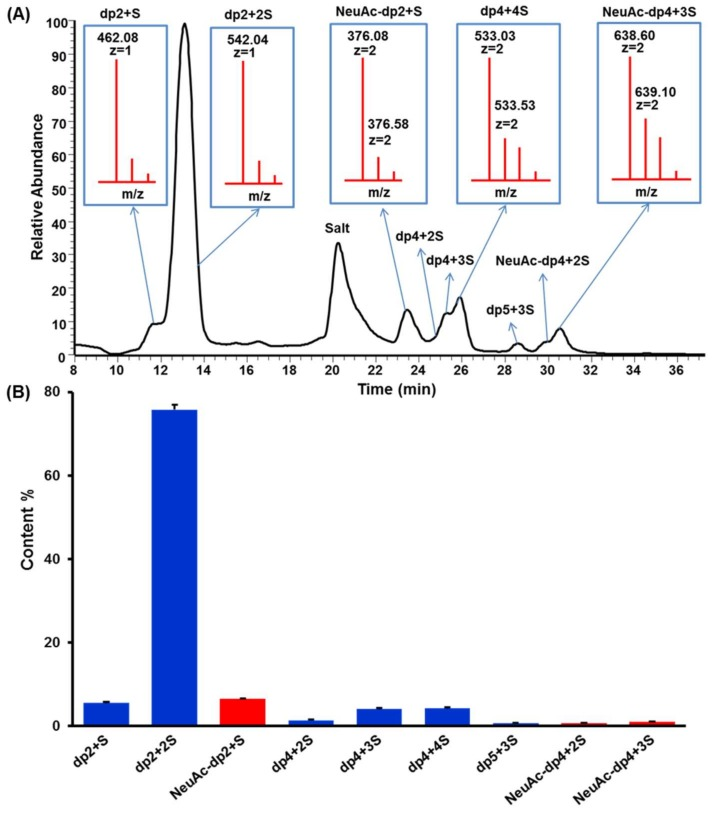 ( A ) Total ion chromatography of HILIC-FTMS profiling of fully digested KS domain structure. ( B ) Composition analysis of KSO calculated by GlycResoft. The analytical error for each GAG was