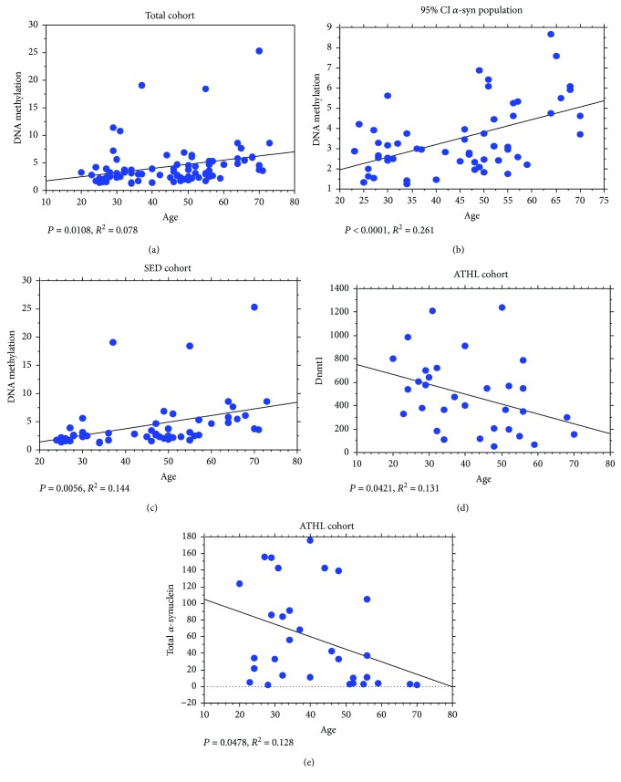 """Correlation analyses between SNCA I1 relative DNA methylation levels, Dnmt1, total α -syn, and age. Correlation analysis between SNCA I1 relative DNA methylation and age (a) in the total population, (b) in the """"95% CI α -syn population"""" (i.e., subjects characterized by RBC α -syn concentration of 76 ng/mg protein or lower), and (c) in the SED group. (d) Correlation analysis between Dnmt1 levels and age in the ATHL group. (e) Correlation analysis between total α -syn levels in RBCs and age in the ATHL group. The correlation between variables was determined by simple linear regression analysis. P and R 2 were reported in the respective panels."""