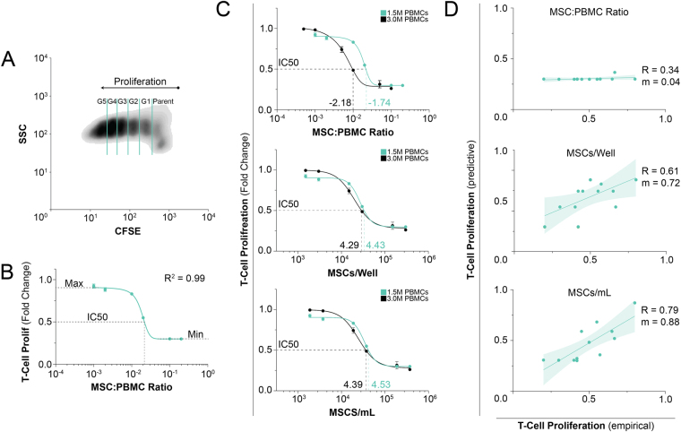 Pharmacological assessment of MSC immunosuppression with perturbation and regression analysis. PBMC proliferation was measured using flow cytometry and CFSE staining after stimulation with ConA and IL-2 for a period of 4 days. ( A ) Density plot of CFSE dilution; clear definition between proliferative generations (up to 5) is apparent. ( B ) Dose response curve of MSC suppression of T cell activation; data points represent mean +/− SD of 3 samples. Six ratios of MSCs were co-cultured with 1.5 M PBMCs to generate a full dose response curve (1:5, 1:10, 1:50, 1:100, 1:500, and 1:1000). This curve is fit by a pharmacologic dose response regression (Equation 2 ) with strong fit (R 2 = 0.99). ( C ) Independent variable assessment was performed by doubling the number of PBMCs; data points represent mean +/− SD of 3 samples. ( top ) Two distinct curves form using the metric of ratio showing poor universal applicably of this metric with a nearly 3-fold difference between IC50 values. ( middle bottom ) Implementing a cells/well and cell/mL approach, we find greatly improved agreement between these curves with a IC50 value differences less than 1.5-fold. ( D ) Each independent variable was then assessed again several matched studies to determine broad applicability using regression derived from 1C (Equation 2 ; regression values found in Table S1 ); each data point represent a distinct value from literature. Pharmacologic curves were derived from a non-linear, 4 parameter regression; correlative lines were generated using a linear regression.