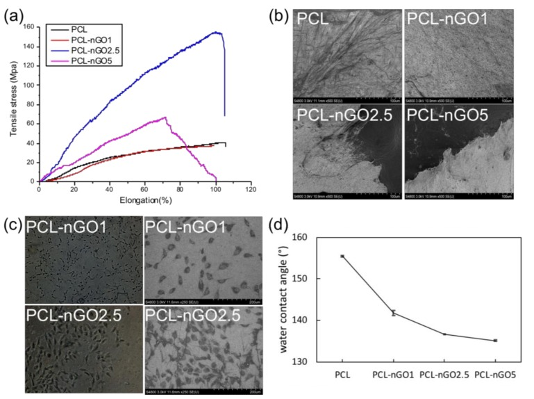 ( a ) Stress–strain curves of PCL, PCL-nGO1, PCL-nGO2.5, and PCL-nGO5 fibers; ( b ) SEM images of PCL, PCL-nGO1, PCL-nGO2.5, and PCL-nGO5 fibers after tensile break; ( c ) Optical microscopy images and SEM images of PCL-nGO1 and PCL-nGO2.5 after 4 days of cell culture; ( d ) Water contact angle measurements on PCL, PCL-nGO1, PCL-nGO2.5, and PCL-nGO5 fibers.