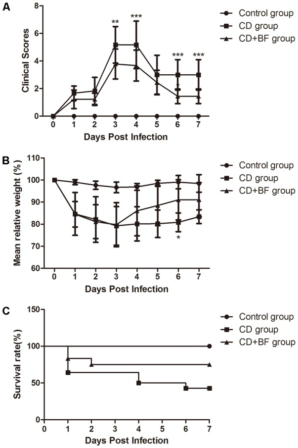 Bifidobacterium longum JDM301 attenuates CDI in vivo . Mice were infected with ATCC 43255 treated with or without B. longum JDM301. (A) Clinical scores. (B) Percent weight loss from day 0 (the day of infection). (C) Survival curve P = 0.0215 by Mantel-Cox ( n = 6–9). ∗ P