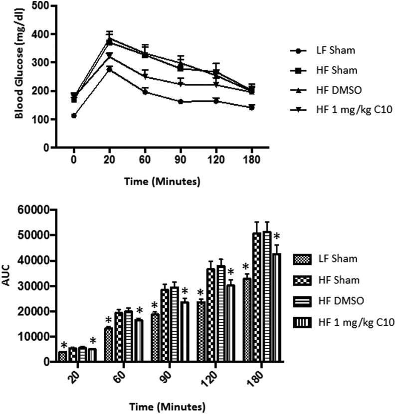 C10-treated mice maintain glucose tolerance despite obesity. A 3 h intraperitoneal glucose tolerance test was performed after 13 weeks of HF diet feeding. C10 prevented HF diet-induced glucose intolerance. Area under the curve was significantly lower in the LF sham group as well as the HF C10-treated group throughout the duration of the glucose challenge. Data points on the line graph indicate mean and error bars indicate +/− s.e.m. and bars on the bar graph indicate mean + s.e.m. Significance was determined using ANOVA followed by Tukey's post hoc analysis for multiple comparison; *Different from HF sham and HF DMSO groups; P