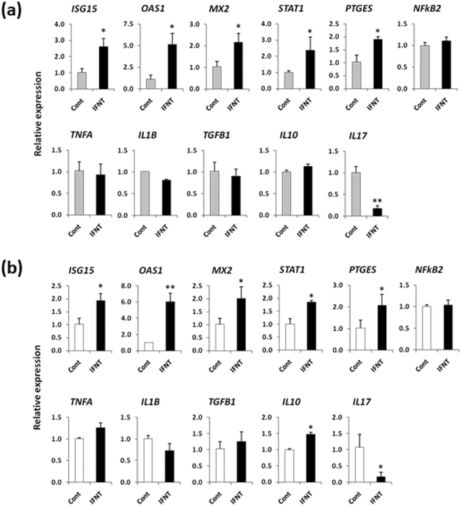 ( a ) Relative mRNA expression of candidate genes in PBMCs cultured in IFNT-treated (50 pg/ml) BOEC medium or in BOEC medium (cont). ( b ) Relative mRNA expression of candidate genes in PBMCs cultured in fresh medium supplemented with IFNT (50 pg/ml) or in fresh medium without IFNT (cont). Data are presented as mean ± SEM of three independent experiments performed in triplicate. * P