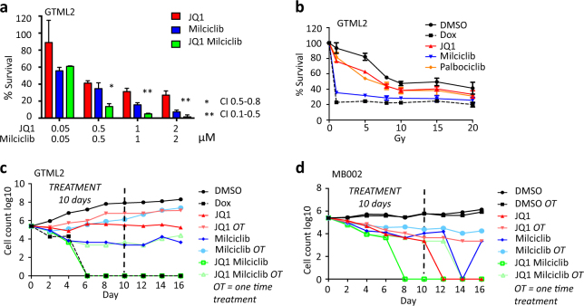 JQ1 and Milciclib treatment synergistically target MYC-driven medulloblastoma cells. a Survival of GTML2 cells after treatment with the indicated concentration of JQ1 and Milciclib. Combination index (CI) was calculated using the CompuSyn software for drug combinations and for general dose effect analysis, ComboSyn, Inc. Paramus, NJ, 2007. [ www.combosyn.com ] . *Indicate CI: 0.5–0.8 moderate synergy; **CI: 0.1–0.5 strong synergy. b Dose response (survival) of JQ1, Milciclib, or Palbociclib treatment together with single-dose irradiation in GTML2, response compared to non-irradiated DMSO control, analyzed 5 days postirradiation and/or posttreatment. c Long-term treatment of GTML2 cells with JQ1, Milciclib, or Palbociclib alone or in combination. d Long-term treatment of MB002 cells with JQ1 (500 nM), Milciclib (500 nM), or Palbociclib (2 μM) alone or in combination. c , d Cells treated one time (OT) or every other day for 10 days and monitored for tumor cell recovery until 16 days posttreatment start