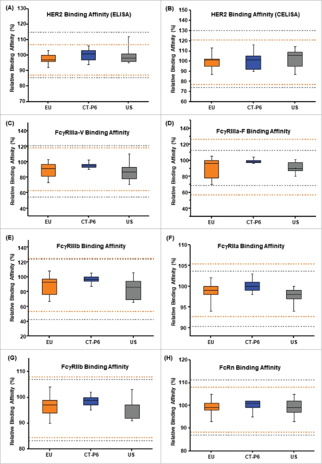 Comparison of Tier 2 biological attributes for <t>CT-P6</t> (blue), EU-Herceptin® (orange) and US-Herceptin® (grey). Box plots of relative (A) HER2 binding affinity by ELISA, (B) cell-based HER2 binding affinity by CELISA, (C) FcγRIIIa-V binding affinity by SPR, (D) FcγRIIIa-F binding affinity by SPR, (E) FcγRIIIb binding affinity by SPR , (F) FcγRIIa binding affinity by SPR, (G) FcγRIIb binding affinity by SPR and (H) FcRn binding affinity SPR. Orange and grey broken lines represent quality range of EU-Herceptin® and US-Herceptin®, respectively. Box plot shows the interquartile range (box), median (band inside of box), maximum and minimum values (whiskers).