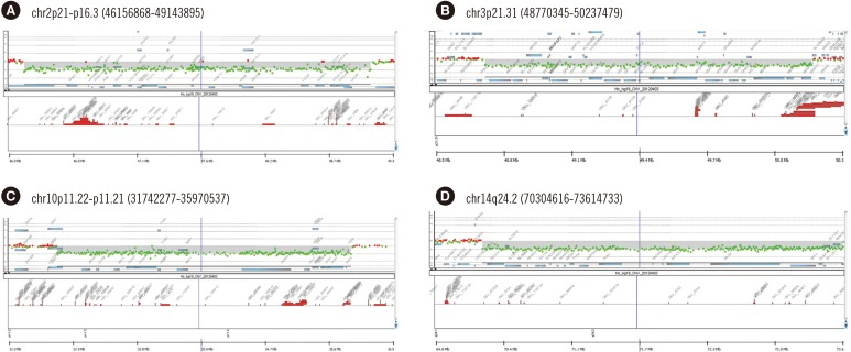 Microarray data of the rarely reported pathogenic copy number variations verified in this study: Agilent Human Genome oligonucleotide CGH showing deletions of 2.98 Mb on 2p21p16.3 (A), 1.46 Mb on 3p21.31 (B), 4.22 Mb on 10p11.22p11.21 (C), and 3.3 Mb on 14q24.2 (D).