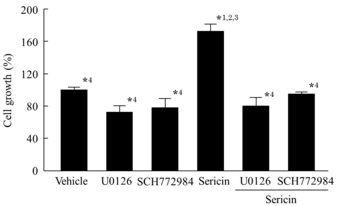 Effect of U0126 on the proliferation of HCE-T cells treated with sericin. Twenty micromoles of U0126, 0.5 μM SCH772984, and/or 0.1% sericin were dissolved in 0.05% DMSO, and treated for 24 h. Vehicle, 0.05% DMSO-treated HCE-T cells. U0126, U0126-treated HCE-T cells, SCH772984, SCH772984-treated HCE-T cells. Sericin, sericin-treated HCE-T cells. Sericin + U0126, sericin and U0126 co-treated treated HCE-T cells. Sericin + SCH772984, sericin and SCH772984 co-treated HCE-T cells. n = 7. * 1 p