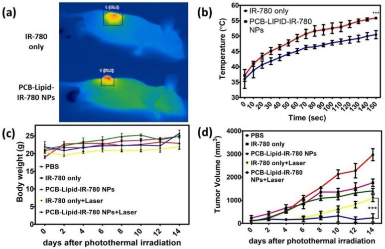 Photothermal-mediated antitumor effect of PCB-lipid–IR-780 NPs in the TC-1 xenograft tumor-bearing model. ( a ) Thermal image of laser-irradiated TC-1 tumor in IR-780 and PCB-lipid–IR-780 treated tumor mice; ( b ) heat curve of laser-irradiated TC-1 tumors in IR-780 and PCB-lipid–IR-780 treated tumor mice; ( c ) whole body weight of laser-irradiated TC-1 tumor mice and ( d ) tumor volume of TC-1 tumor irradiated with 808-nm laser at 2 W/cm 2 for 2.5 min. n = 4, SEM, *** p ≤ 0.001.