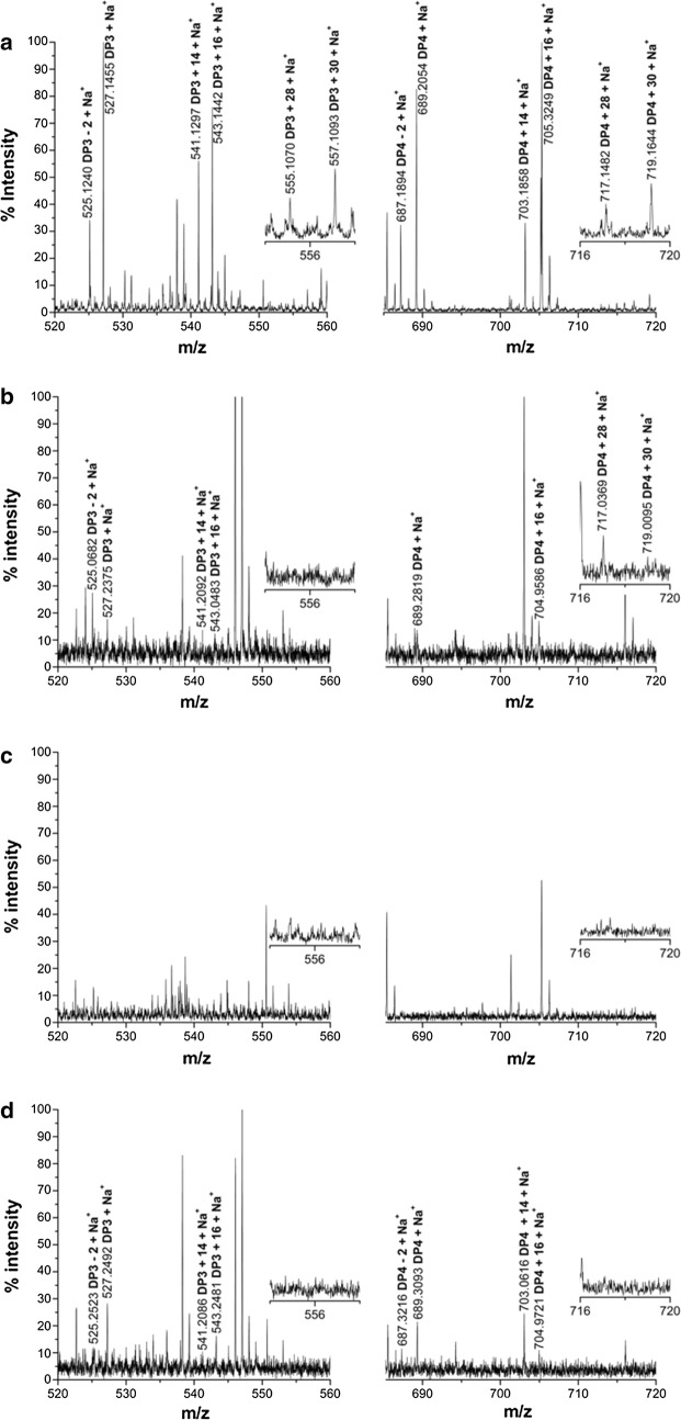 Identification of the mutated CtPMO1 soluble reaction products oxidized by Br 2 with PASC as substrate using MALDI-TOF–MS. Soluble reaction products upon incubation of 0.5% PASC with the mutated CtPMO1 enzymes Y27A ( a ), H64A ( b ), H157A ( c ) and Y206A ( d ) in 10 mM HAc-NH 4 Ac (pH 5.0) and 1 mM ascorbate at 50 °C for 48 h. C1-oxidized oligosaccharides ( m/z + 16), C4-oxidized oligosaccharides ( m/z + 14), C6-oxidized oligosaccharides ( m/z + 30), and C6- and C4-oxidized oligosaccharides ( m/z + 28)