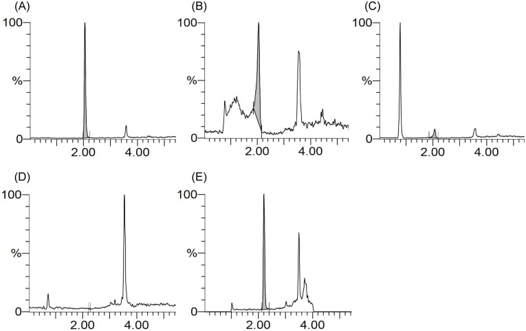 LC-MS chromatograms of (A) SK14-061a spiked with water, (B) SK14-061a spiked with plasma after a methanol treatment, (C) SK14-061a spiked with plasma after an acetonitrile treatment, (D) blank plasma after SPE treatment, and (E) SK14-061a spiked with plasma after SPE treatment. All SK14-061a samples contained 500 ng/mL in concentration before either reverse liquid-liquid extraction or SPE. The SK14-061a were detected by the LC-MS as described in the Materials and Methods section.