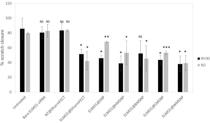 Assessment of invasion after transfection with siRNA. RMS cells were incubated with naked siRNA, non-targeted (NT) siRNA, or ELMO1 targeted siRNA. The lipid transfection agent, DharmaFECT, was compared with MSNPs of different morphologies for efficacy. The percentage closure of a wound inflicted in a confluent cell layer was measured after 24 hours. Data are presented as the mean ± SD of triplicate samples. Significance was tested using a two tailed t-test compared to the untreated cells for each cell line (*p ≤ 0.05, **p ≤ 0.01, ***p ≤ 0.005).