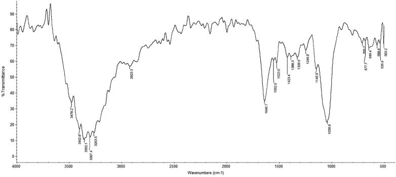FTIR spectrum of the polysaccharide extract of Trametes versicolor . FTIR assignments, wave number (cm −1 ): 3000–3500 cm −1 stretching vibration O–H and N–H; 2920–2950 cm −1 C–H stretching vibration; 1630–1650 cm −1 is characteristic of the absorbed water; 1200–1500 cm −1 C–H deformation vibrations; 1030–1070 cm −1 and 1150 cm −1 stretching vibrations of glicosidic linkage (C–O–C) and C–O–H, respectively; 850 cm −1 and 950 cm −1 indicate the presence of α-glycoside bond; 890 cm −1 indicates the presence of β-glycoside bond; 1630–1655 cm −1 corresponds to the amide I band while the peak at about 1550 cm −1 (1500–1600 cm −1 ) refers to the amide II band. The presence of pigments is characterized with frequencies in the range (1600–1650 cm −1 ) indicative for the aromatic C = C double bond conjugated with the C = O and/or –COO groups; the area of 1310–1410 cm −1 is specific to OH groups of the phenolic compounds.