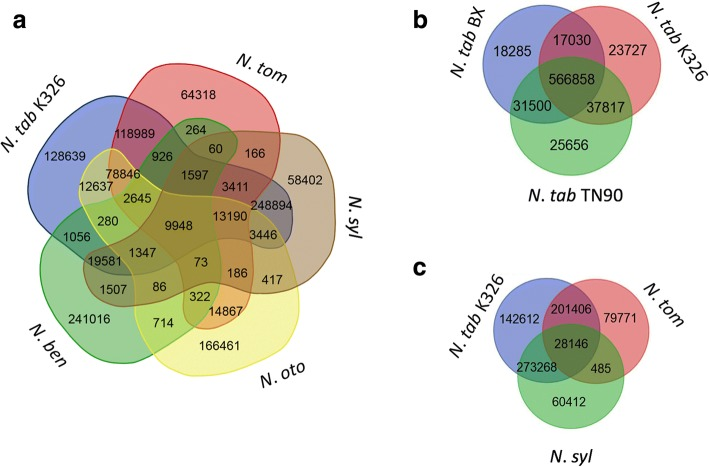 Venn diagram showing the number of common and specific NIX markers in Nicotiana species and varieties ( a ), varieties of N. tab ( b ), N. tab K326 and putative progenitors ( c ). N. ben, N. syl, N. tom, N. oto, N. tab TN90, K326 and BX represent N. benthamiana , N. sylvestris , N. tomentosiformis , N. otophora , N. tabacum TN90, N. tabacum K326, and N. tabacum BX, respectively