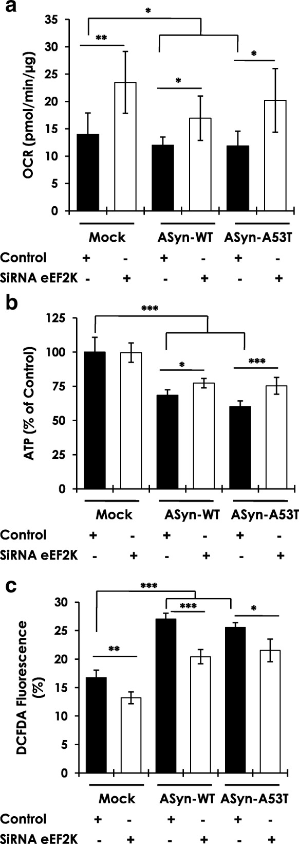 Effects of eEF2K inhibition on mitochondrial dysfunction and oxidative stress induced by human AS in differentiated N2A cells. a - b Measurements of basal oxygen consumption rate-OCR ( b ) and ATP levels ( c ) in N2A cells subsequent to transient overexpression of human wild type or mutant A53T AS, with or without siRNA mediated eEF2K knockdown ( n = 9–12/group from three independent experiments; Unpaired T-test, * p