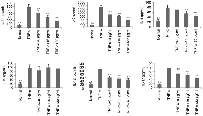 Inhibitory effects of POGD on levels of IL-1β, IL-6, IL-8, IL-10, IL-12 and IL-17A in TNF-α-stimulated MH7A cells. Cells were pretreated with TNF-α (10 ng/ml) for 12 h, following which the cells were exposed to POGD (8, 16 and 32 μ g/ml) for another 24 h; enzyme-linked immunosorbent assays were performed to determine the levels of cytokines in cell supernatants (n=4). ** P