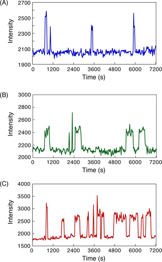 Time courses of fluorescent intensity of bright spots corresponding to the binding and dissociation of single-molecule hybridization in (A) 8 mer–8 mer, (B) 12 mer–12 mer, and (C) dA 12 –dT 12 DNAs. Time-lapse images were obtained at an interval of 30 s. Experimental conditions: 200 mM NaCl <t>Tris-EDTA</t> (TE) buffer (10 mM Tris–HCl, pH 8.0, 1 mM <t>ethylenediaminetetraacetic</t> acid (EDTA), 200 mM NaCl) [Cy3-DNA] = 1 nM at 20 °C.