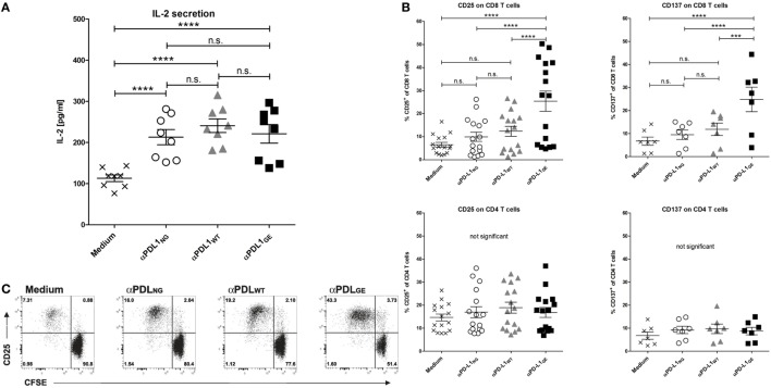 Glyco-engineered anti-human programmed death-ligand 1 (PD-L1) antibody induces strong CD8 T cell activation in a mixed leukocyte reaction. The three anti-PD-L1 variants αPDL1 NG (open circles), αPDL1 WT (gray triangles), and αPDL1 GE (black squares) were tested for their effect on T cell activation in a mixed leukocyte reaction (MLR). The medium control (black crosses) served as a negative control. T cells as responder cells were isolated from a single healthy donor (donor A). Monocyte-derived dendritic cells as stimulator cells were generated from different healthy donors. (A) IL-2 enzyme-linked immunosorbent assays on day 2 of MLR. The determined concentrations of IL-2 in the culture supernatants were plotted. (B) The activation status of CD8 and CD4 T cells in the MLR was determined on day 5 by flow cytometric analysis. The relative frequencies of CD25 + and CD137 + in CD8 and CD4 T cells were plotted. (C) The proliferation of CFSE-labeled CD8 T cells in the MLR was determined on day 5 by CFSE dilution measured by flow cytometric analysis. Representative plots of CD25 expression and CFSE signal intensity of CD8 T cells are shown. Statistics for (A,B) : besides individual data points ( n = 8 for IL-2 secretion, n = 16 for CD25 expression, and n = 7 for CD137), mean and SEM were plotted in all graphs (* p