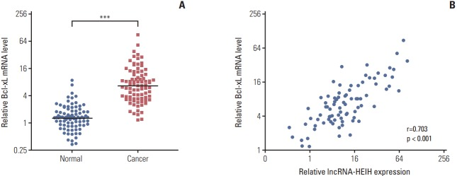 Bcl-xL mRNA level is positively correlated with long noncoding RNA HEIH (lncRNA-HEIH) expression level in colorectal cancer (CRC) tissues. (A) Bcl-xL mRNA levels in 84 paired CRC and adjacent normal mucosa were detected by quantitative real-time polymerase chain reaction and normalized to glyceraldehyde 3-phosphate dehydrogenase. ***p