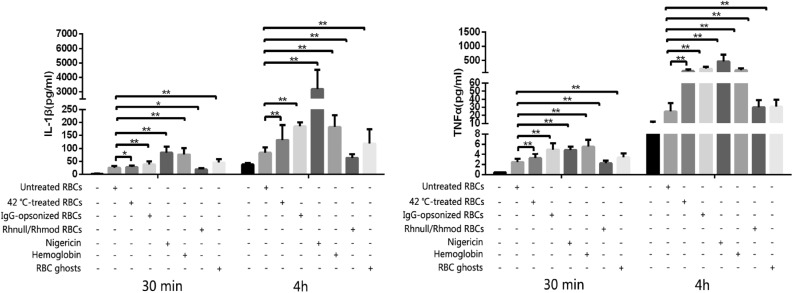 IL-1β and TNFα production detected using the CBA assay. The negative control was the THP-1 cells only. Without considering the reaction time, nigericin (the NLRP3 activation positive control) triggered the THP-1 to produce the most IL-1β. Hemoglobin was the strongest stimulus of TNFα expression in the 30 min incubation. When the reaction was prolonged to 4 h, the cytokine expression evidently increased, and the strongest irritant became nigericin. The Rhnull/Rhmod RBCs exhibited the poorest ability among the RBCs, even less to that of the untreated RBCs, in inducing THP-1 to produce IL-1β or TNFα. * p