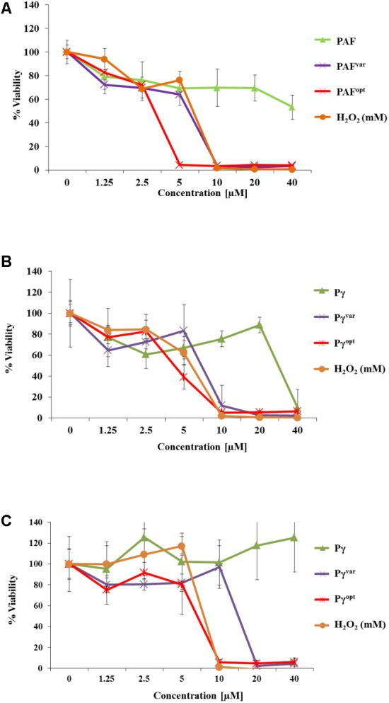 Anti-biofilm activities of AMPs. In 96-well microtiter plates C. albicans was allowed to establish a biofilm for (A,B) 1 h and (C) 24 h before 0–40 μM of (A) protein and (B,C) peptide variants were added. H 2 O 2 (0–40 mM) served as a positive control. Values represent the mean of three replicates. Values represent mean ± SD.