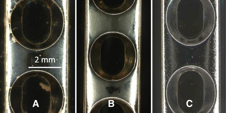S. aureus Xen29 has been exposed to stainless steel plates for 14d. The control plate ( a ) shows a higher amount of biofilm accumulation compared to the thermal cycled plate ( b ). A new plate prior to bacteria exposure ( c )