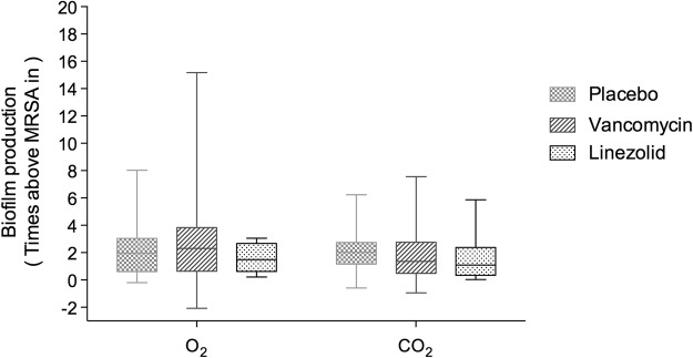 Effect of systemic antibiotic treatment on biofilm production in the 52 ETT-MRSA isolates under O 2 or 5% CO 2 conditions Median (interquartile range) values for biofilm production of the 52 ETT-MRSA compared with the MRSA-in under O 2 ( A ) and 5% CO 2 ( B ). Time of assessment: day of peak production. Biofilm production was not influenced by systemic treatment with placebo (n = 19), linezolid (n = 11), or vancomycin (n = 22) under either O 2 (1.96 [0.61–3.02], 2.30 [0.64–3.83], and 1.49 [0.63–2.67], respectively; p = 0.92) or 5% CO 2 (2.02 [1.16–2.34], 1.36 [0.48–2.75], and 1.09 [0.34–2.38], respectively; p = 0.62). Abbreviations: 5% CO 2 , ambient air with 5% CO 2 ; O 2 , ambient air; ETT-MRSA, clinical MRSA isolates from endotracheal tubes; MRSA-in, MRSA inoculated into pigs' lungs; MRSA, methicillin-resistant Staphylococcus aureus .