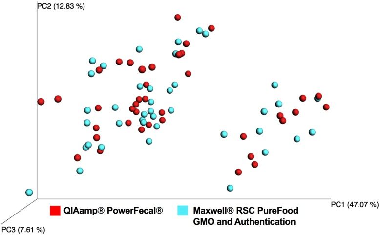 Weighted Unifrac principal coordinate analysis (PCoA) of samples with successful amplification and sequencing. Colors denote DNA extraction method: QIAamp ® PowerFecal ® Kit ( red ) and Maxwell ® RSC PureFood GMO and Authentication Kit ( blue ).