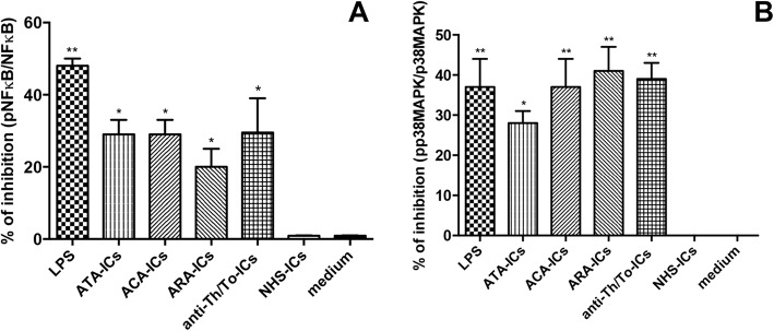 Confirmation of efficacy of NFκB and p38MAPK inhibitors by western blot analysis. Cells preincubated for 1 h at 37 °C with inhibitors of NFκB and p38MAPK. Fibroblasts exposed to SSc-ICs or NHS-ICs (1:2 dilution). LPS (1 μg/ml) used as control. Results expressed as percentage of inhibition of activated ( a ) NFκB and ( b ) p38MAPK (expressed as ratio of phosphorylated to nonphosphorylated forms). * p