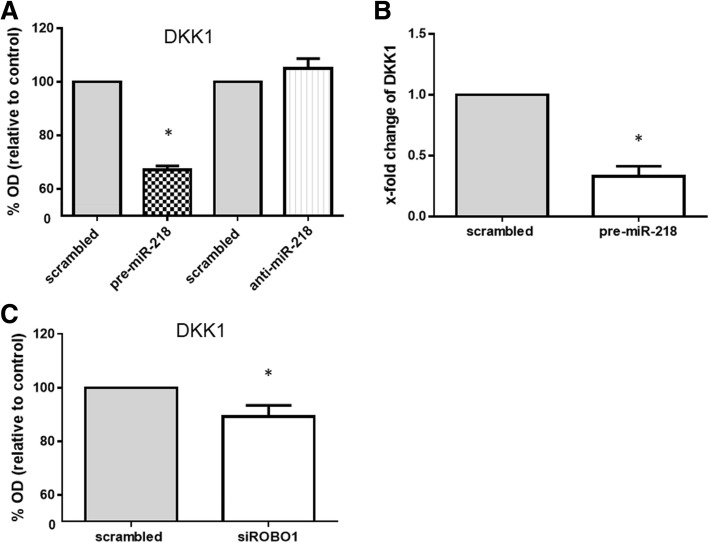 Suppression of Dickkopf-1 (DKK1) by overexpression of microRNA-218-5p (miR-218) or silencing of roundabout1 (ROBO1). a At the protein level, transfection of rheumatoid arthritis (RA)-fibroblast-like synovial cells (FLS) ( n = 4) with precursor miR-218 (pre-miR-218) for 48 h decreased DKK1 protein production in the culture supernatant compared to scrambled RNA transfected controls, as determined by ELISA. Graphs represent optical density (OD) value; each mean amount of DDK1 protein are as follows; scrambled control: pre-miR-218 1.17 ng/ml:0.76 ng/ml, scrambled control: anti-miR-218 1.58 ng/ml:1.65 ng/ml, respectively. b At the mRNA level, transfection of RA-FLS ( n = 4) with pre-miR-218 for 48 h decreased DKK1 expression compared to scrambled RNA transfected controls, as determined by SYBR green real-time PCR analysis. c Secretion of DKK1 from RA-FLS ( n = 4) was decreased after transfection with ROBO1-specific small interfering RNA (siRNA) compared to the scrambled RNA transfected controls, as determined by ELISA. Graphs represent OD value; each mean amount of DDK1 protein are as follows; scrambled control: siROBO1.28 ng/ml:1.09 ng/ml, respectively. Values are presented as means ± SEM: * p