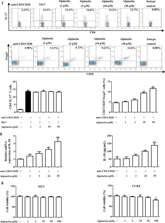 Effect of alpinetin on the imbalance of Th17/Treg. a – d Mice were orally administrated of 2.5% DSS for 7 days, and followed by sterile distilled water alone for another 3 days. The alpinetin (7.5, 15, 30 mg/kg) and 5-aminosalicylic acid (5-ASA, 200 mg/kg) were orally administered daily for consecutive 10 days. Then, mice were sacrificed, and colons were collected. The protein levels of IL-17 and IL-10 in colons were detected by using ELISA ( a ); the mRNA levels of IL-17, IL-10, RORγt and Foxp3 were detected by using Q-PCR assay ( b , c ); the percentages of Th17 cells and Treg cells in mesenteric lymph nodes (MLNs) and colonic lamina proprias (LPs) were detected by using flow cytometry assay ( d , e ). f CD4 + T cells were treated with anti-CD3/CD28 (2 μg/mL), rhTGF-β1 (5 ng/mL), <t>rmIL-6</t> (20 ng/mL), rmIL-2 (300 IU/mL) and alpinetin (1, 3, 10, 30 μM) for 72 h, percentages of Th17 cells were detected by using flow cytometry assay. In addition, CD4 + T cells were treated with anti-CD3/CD28 (2 μg/mL) and alpinetin (1, 3, 10, 30 μM) for 72 h, percentages of Treg cells were detected by using flow cytometry assay. g CD4 + T cells were treated with anti-CD3/CD28 (2 μg/mL) and alpinetin (1, 3, 10, 30 μM) for 72 h, mRNA and protein levels of IL-10 were detected by using Q-PCR and ELISA, respectively. h CD4 + T cells were cultured with alpinetin (1, 3, 10, 30, 100 μM) for 72 h, the viability and proliferation of CD4 + T cells were detected by using MTT and CCK8 assays, respectively. The data were presented as means ± S.E.M. of three independent experiments or six mice in each group. ## P