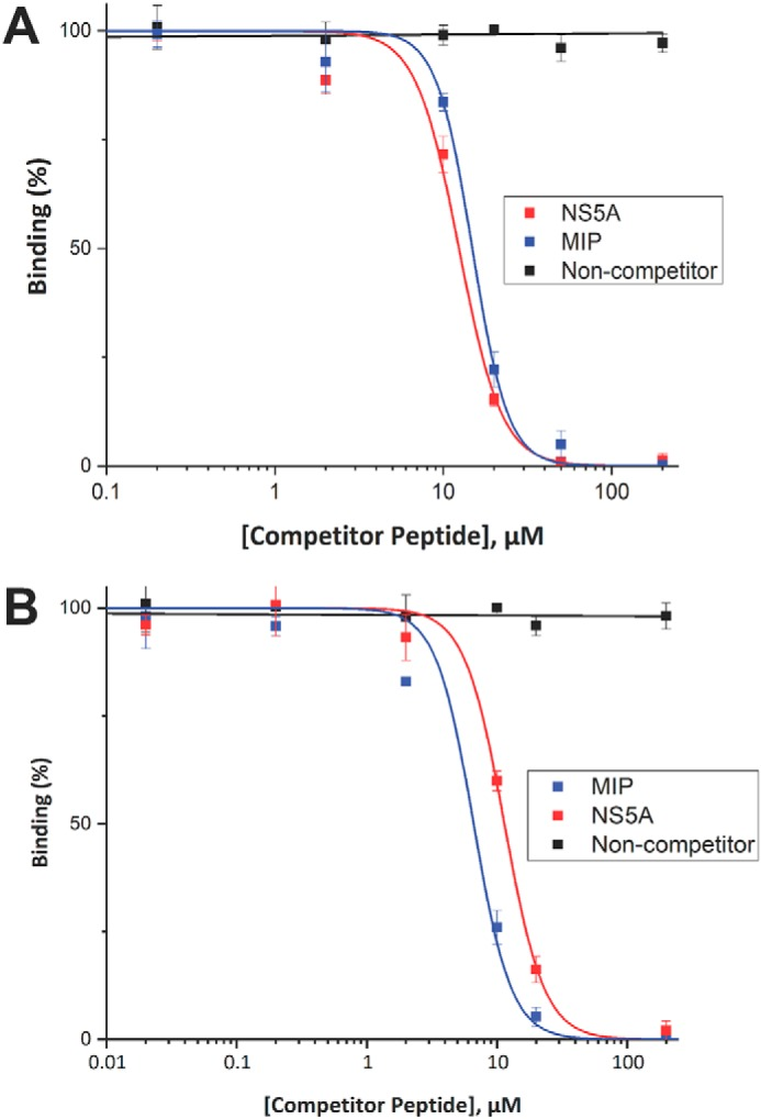 Competition ELISA between MIP and NS5A peptide. To determine whether the MIP and NS5A peptides competitively bind the SH3 domain of MLK3, a GST-MLK3 SH3(43–104) fusion protein was preincubated with increasing concentrations of unlabeled MIP peptide or unlabeled NS5A peptide as competitor and then allowed to interact with biotinylated MIP ( A ) or biotinylated NS5A ( B ) peptide probes immobilized on a NeutrAvidin-coated 96-well ELISA plate. Binding of the SH3 domain was detected with an anti-GST antibody conjugated to HRP, and the signal levels are presented as a percentage of binding in the absence of competitor. Experiments were performed in triplicate, and the results are an averaged value; error bars reflect the standard deviation of each point. Curve fitting was performed with OriginPro 2017.
