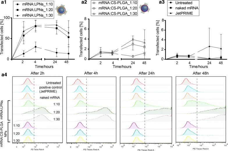 The kinetics of transfection for both mRNA-loaded NPs was quantified using flow cytometry, which indicated a significant difference between a1 mRNA:LPNs over a2 mRNA:CS-PLGA NPs, while mRNA:LPNs with a ratio of 1:20 and 1:30 elucidated a significant higher transfection rate over 1:10. a3 Control samples for transfection studies were JetPRIME ® as positive control and naked mRNA as negative control. (Note the enlarged y-axis, N = 4, mean ± SD.) a4 Representative graphs for evaluated time-points demonstrate a strong fluorescence shift for mRNA:LPNs with an increment in time and hence a higher transgene expression