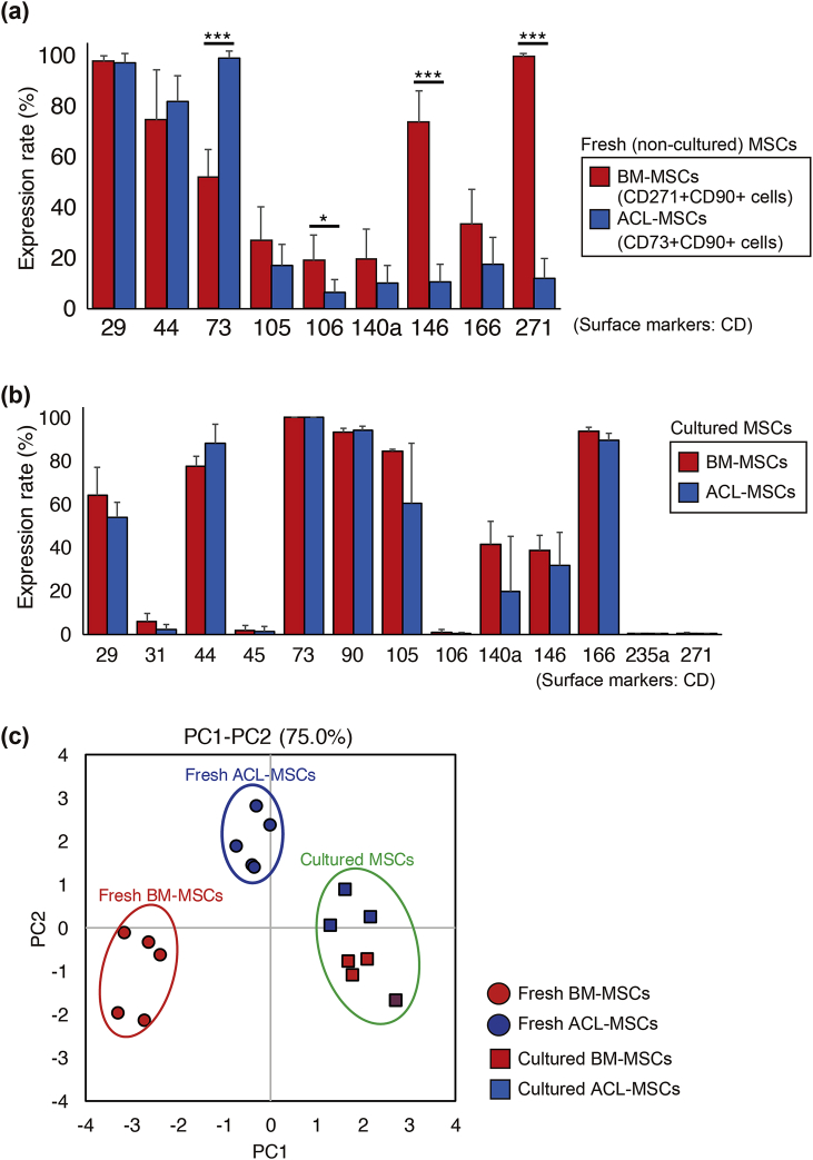 Comparison of cell surface proteins between ACL- and bone marrow (BM)-derived MSCs. Cell surface protein expression in ACL-MSCs (CD73 + /90 + ) and BM-MSCs (CD90 + /271 + ) before (a) and after culture (b). (c) Principal component analysis of four types of cells. ACL-derived CD73 + /90 + MSCs: fresh (blue, circle) and cultured (blue, square); BM-derived CD90 + /271 + MSCs: fresh (red, circle) and cultured (red, square).