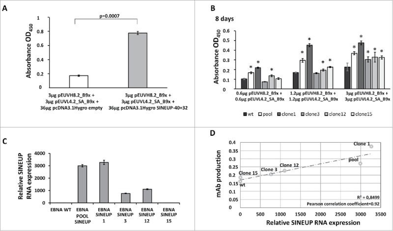 Increased production of anti-CLDN1 B9x IgG4 by transient and stable expression of the SINEUP -40+32 construct > . A. The ELISA assay shows increased production of full human B9x IgG4 in cells co-transfected with the construct expressing the SINEUP -40+32 lncRNA, targeting both heavy- and light-chain mRNAs of the anti-CLDN1 B9x antibody. B. The ELISA assay, revealing full human IgG s , shows the antibodies secreted by HEK293E (wt) and HEK293E_SINEUP -40+32 cells stably expressing the lncRNA (pool or isolated clones 1, 3, 12, 15) after 8 days following transfection with pEUVH8.2_B9x and pEUVL4.2_SA_B9x vectors. The asterisks indicate p values