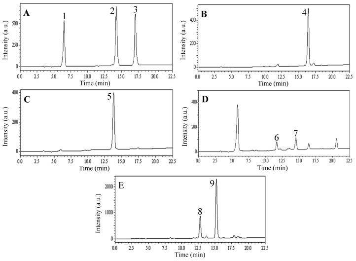 HPLC chromatograms of n -butanol extract and HSCCC peak fractions from leaves of L. japonica . (( A ) F1 in Figure 3 ; ( B ) F2 in Figure 3 ; ( C ) F3 in Figure 3 ; ( D ) F4 in Figure 3 ; ( E ) F5 collected from the column after the separation). Experimental conditions: Shim-pack VP-ODS column (250 mm × 4.6 mm, i.d., 5 μm); Column temperature: 25 °C; Flow rate: 1.0 mL/min; Detection: 254 nm; Injection volume: 10 μL. HPLC conditions are as follows: Eluent A (MeOH) and eluent B (0.3% acetic acid in water, v/v ), linear gradient combinations: at t = 0, 70% B; at t = 20 min, 40% B; at t = 22.5 min, 40% B. a.u.: arbitrary unit.