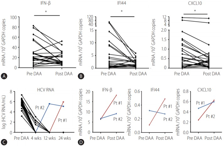 Direct-acting antiviral (DAA)-induced downregulation of endogenous IFN-β response in peripheral blood mononuclear cells (PBMCs) isolated from HCV-infected patients. (A, B) PBMCs from HCV-infected patients were isolated before DAA (pre DAA) and at the end of DAA (post DAA) treatment. TaqMan real-time quantitative polymerase chain reaction (PCR) was performed to detect mRNA levels of IFN-β, IFI44, CXCL10, and GAPDH. (C, D) Serum and PBMC from two HCV-infected patients were isolated before and at the end of DAA treatment. TaqMan real-time quantitative PCR was performed to detect viral RNA level of HCV in the sera and mRNA levels of IFN-β, IFI44, CXCL10, and GAPDH in the PBMCs. GAPDH, glyceraldehyde 3-phosphate dehydrogenase; IFN, interferon; IFI44, interferon-induced protein 44; CXCL10, C-X-C motif chemokine ligand 10; HCV, hepatitis C virus; wks, weeks; Pt, patient. * P