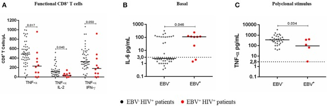 Cytokine response to a polyclonal stimulus in EBV + HIV + patients. Peripheral blood samples of HIV + patients were cultured in vitro at basal (without stimulus) or polyclonal (PMA + ionomycin)-stimulated conditions with BFA. Monofunctional and multifunctional (TNF-α + , IFN-γ + and/ or IL-2 + ) T cells were characterized using mAbs and flow cytometry. The results for CD8 + T cells are shown (A) . Parallel cultures were made without BFA for collecting supernatants and measuring the concentration of soluble cytokines by CBA and flow cytometry. Supernatant IL-6 at basal condition (B) and supernatant TNF-α at polyclonally stimulated condition (C) . Bold lines represent median values. Dotted lines correspond to the limit of detection for each cytokine. Mann-Whitney U -test was used for comparisons between groups of individuals.