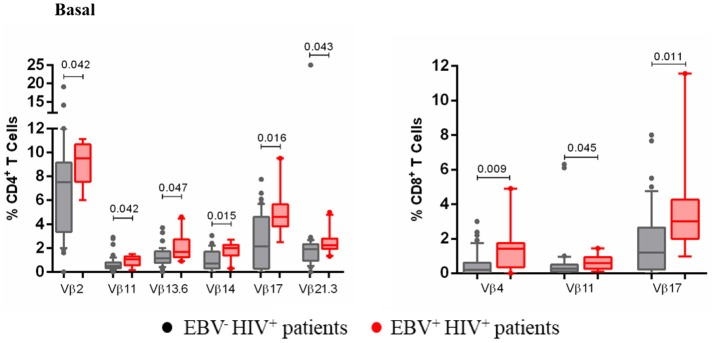 Clonotypic distribution of T cells from EBV + HIV + patients. Peripheral blood samples of HIV + patients were cultured in vitro at basal (without EBV) conditions. The distribution of CD4 + and CD8 + T cells positive for some of 24 TCR-Vβ families was analyzed with specific mAbs and flow cytometry. Box and whisker plots show range, median, and interquartile range of percentage of T cells positive for some individual Vβ families. Mann-Whitney U -test was used for comparisons between groups.