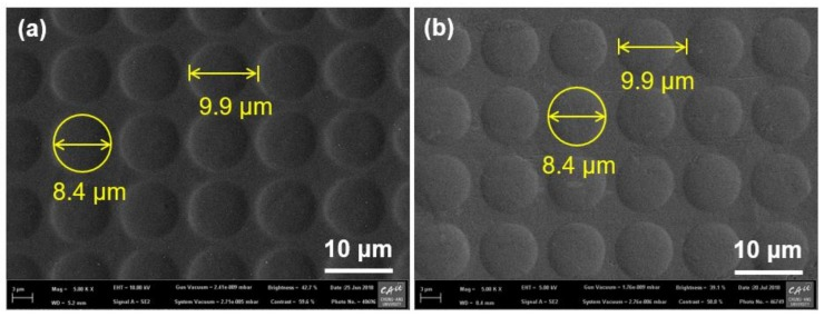 Scanning electron microscope (SEM) images of ( a ) <t>microdome</t> cavities on GC mold and ( b ) microdome array on aluminum (Al) substrate fabricated by DMF with a temperature of 645 °C and a pressure of 2 MPa.