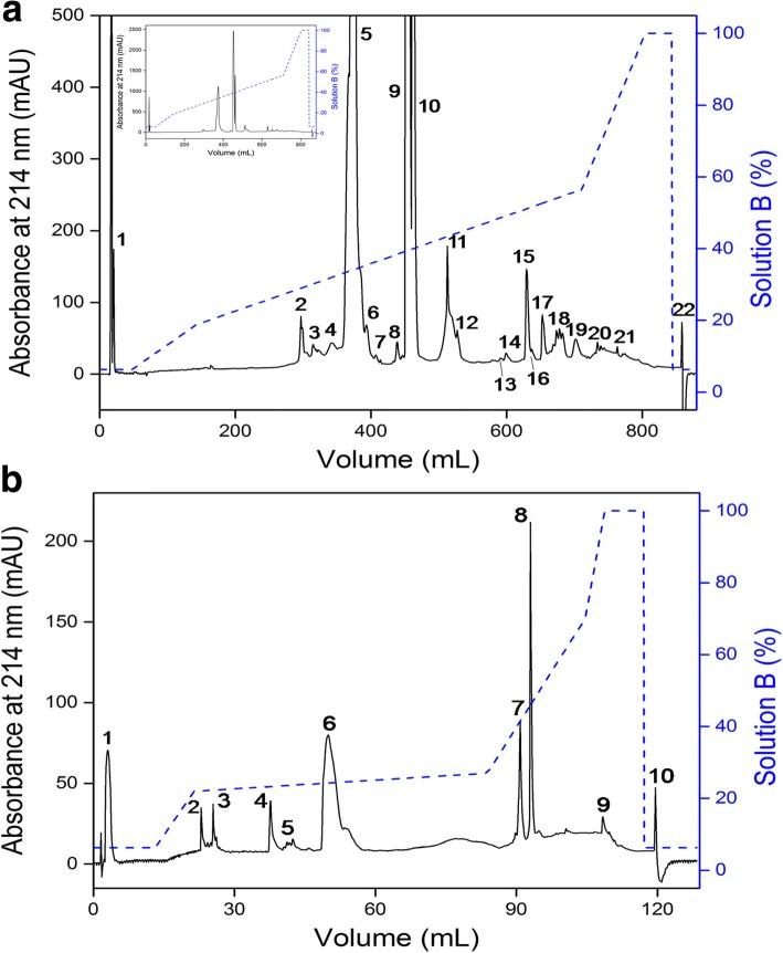 Chromatographic profiles of non-RGD disintegrin from C. d. collilineatus venom using RP-FPLC system. a C. d. collilineatus venom (30 mg) was applied on a C18 column (250 × 10 mm, 5 μm particles, 300 Å), at a flow rate of 5 mL/min and ( b ) Fraction 2 (200 μg) on a C18 column (250 × 4.6 mm, 3.6 μm particles), at a flow rate of 0.5 mL/min. Elution in both chromatograms was carried out in a segmented concentration gradient from 6.3 to 100% of solution B (80% ACN in 0.1% TFA, represented by the blue dashed line) and absorbance was monitored at 214 nm. Inset panel – whole chromatographic profile without magnification