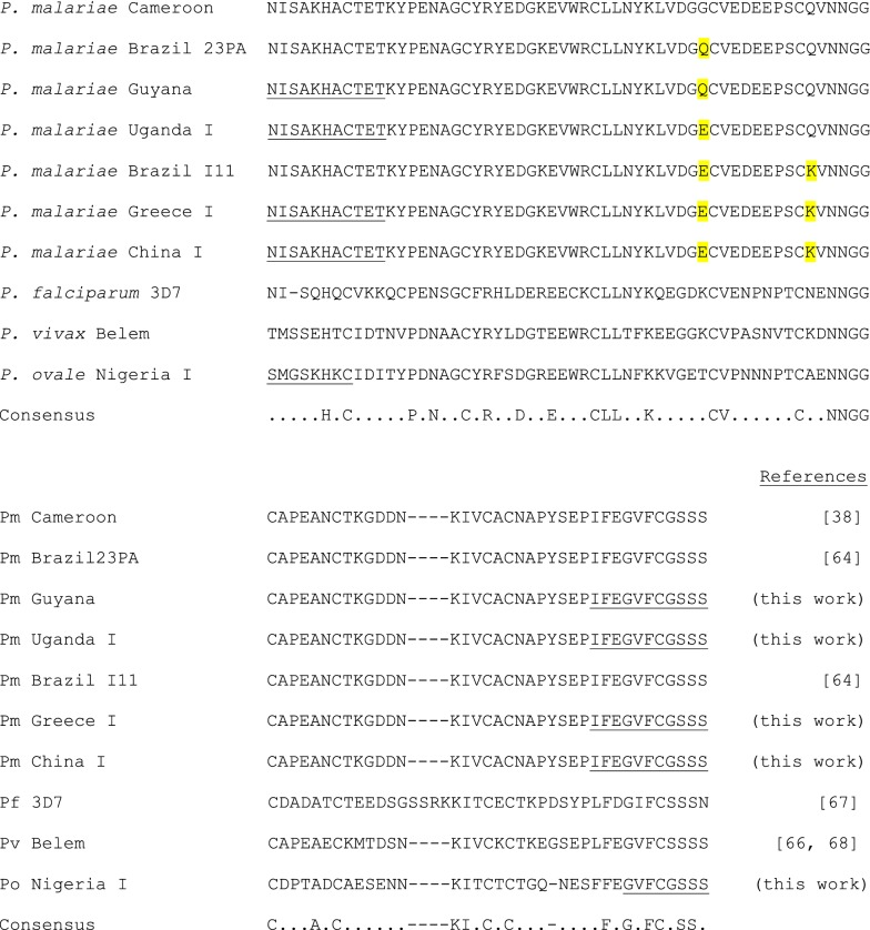 Alignment of predicted Plasmodium spp. MSP1 19 protein sequences using COBALT [ 61 ]. Residues in the P. malariae sequence that differ from the Cameroon sequence of Birkenmeyer et al. [ 38 ] are shaded. Predicted protein sequences resulting from the oligonucleotides used in PCR amplification are underlined. The positions of residues conserved among all the presented MSP1 19 protein sequences are indicated in the consensus with divergent residues indicated by a dot. GenBank accession numbers are MH577181, P. ovale Nigeria I strain; MH577182, P. malariae China I strain; MH577183, P. malariae Greece I strain; MH577184, P. malariae Uganda I strain; and MH577185, P. malariae Guyana strain