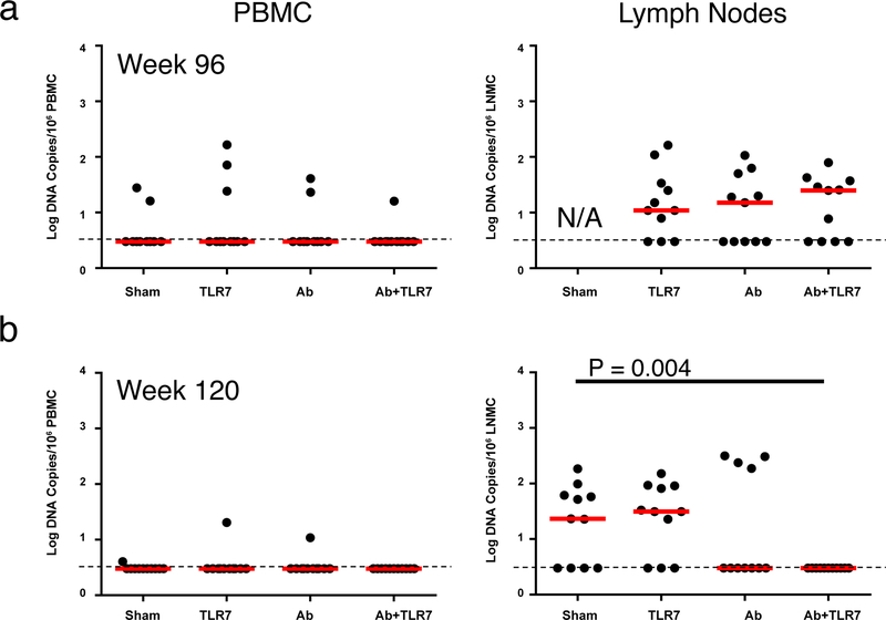 Viral DNA prior to ART discontinuation. Log viral DNA copies/10 6 CD4+ T cells are shown (limit of detection 3 DNA copies/10 6 cells) in PBMC and lymph nodes prior to the interventions ( a ) at week 96 prior to the interventions and ( b ) at week 120 following the interventions (N=11 animals/group). Red horizontal bars indicate median values. P-values reflect 2-sided Mann-Whitney tests.