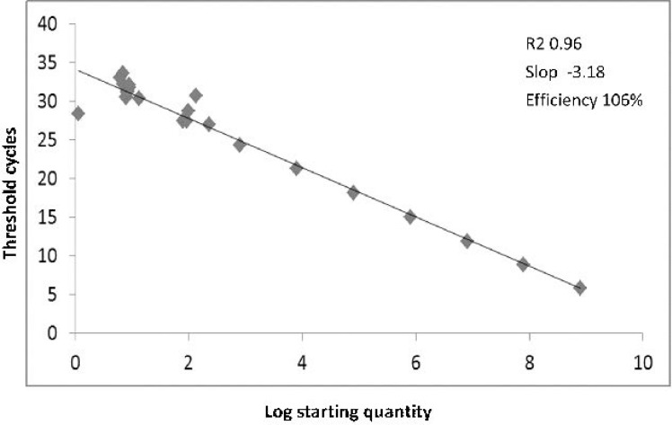 Standard curve analysis. Synthetic DNA standard curves for absolute quantification of JC-T-Ag by real-time PCR. The JCV-Mad-1 T-Ag sequence that cloned in a pBHA plasmid vector was serially diluted (from 100 to 10 8 copies of positive control DNA) and served as a standard reference. High amplification efficiency has also been shown by a good linear relationship among each concentration.