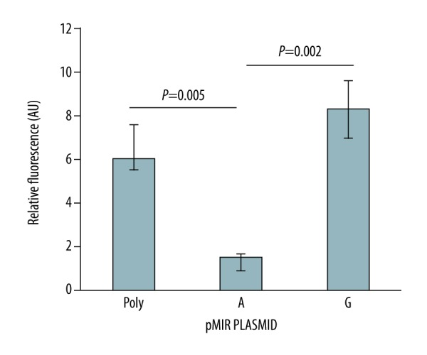 Relative expression of luciferase reporter gene in HepG2 cells transfected with plasmids carrying empty pMIR-REPORT (poly) and A or G rs868 variant of the TGFBR1 gene. Data show medians and lower and upper quartiles from 9 independent experiments. P values were calculated by Kruskal-Wallis test and post hoc Mann-Whitney U test.