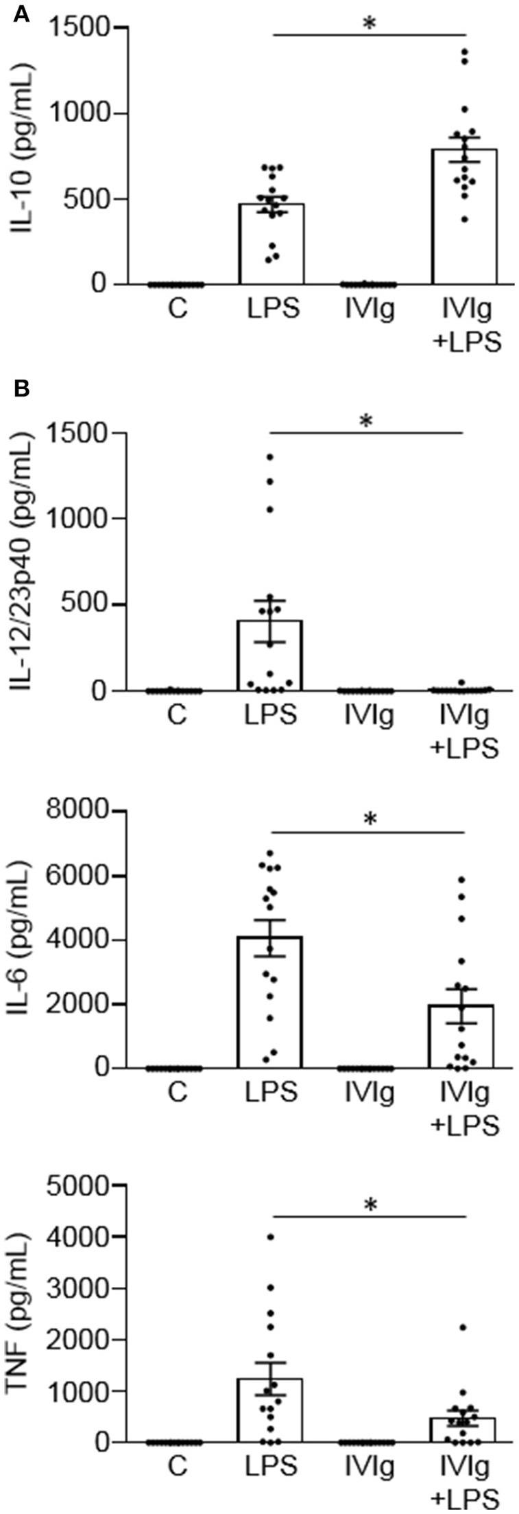 IVIg increases IL-10 production and reduces pro-inflammatory cytokine production in LPS-stimulated human monocytes. Monocytes from healthy control participants were unstimulated [Control (C)] or stimulated with LPS (100 ng/ml), IVIg (5 mg/ml), or both, for 24 h. Clarified cell supernatants were assayed for (A) IL-10, (B) IL-12/23p40, IL-6, or TNF by ELISA. Data are mean ± SEM with n = 16 participants performed as independent experiments, and assayed in duplicate. * p