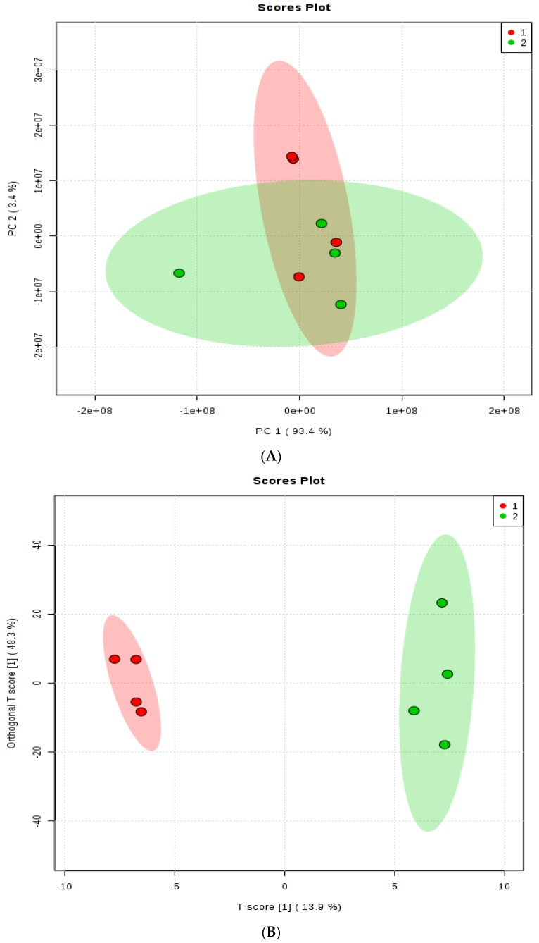 ( A ) The scores plot of PCA model showing the directions that best explain the variance between the two treatments. ( B ) OPLS-DA score plot of all metabolite features. Group 1 = steers fed Control diet, Group 2 = steers fed 200 mg d −1 of monensin. One data point represents one composite rumen fluid sample of each steer.